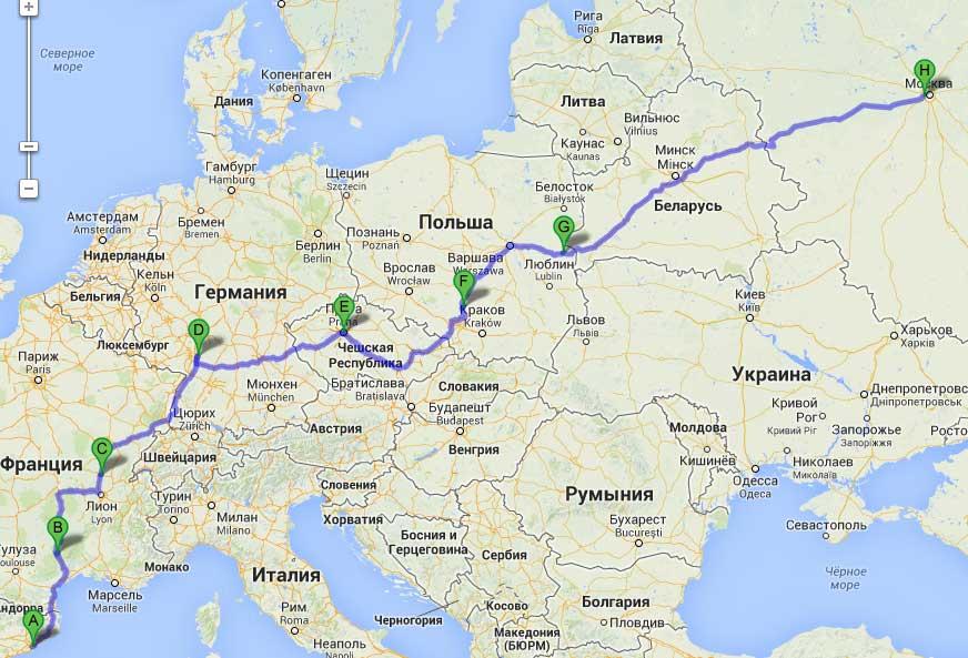 сколько км с белоруссии в австрию пример: